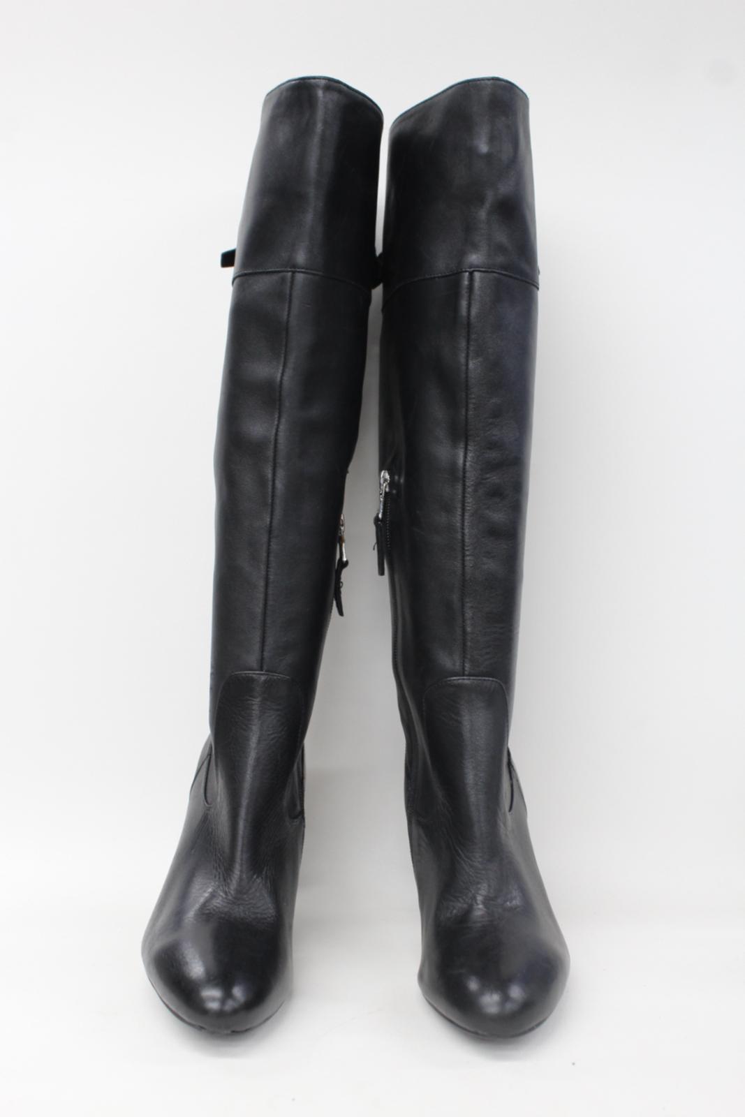 Ladies Ralph Black Leather Lauren Us9b Uk7 Knee Boots Heeled Size High T77q5