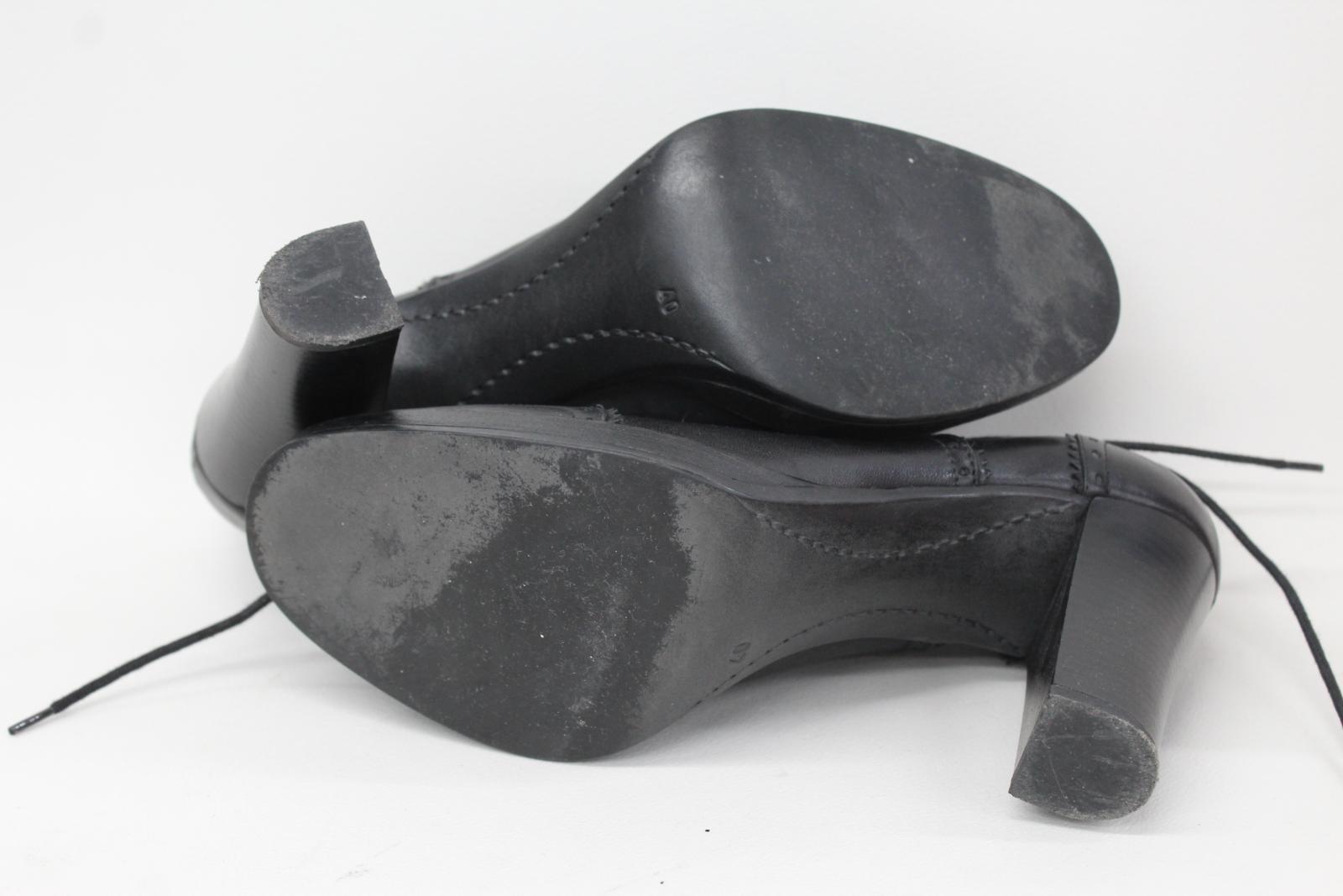 Carvela Damas Brogue De Cuero Negro Estilo Estilo Estilo Alta Zapato De Tacón Alto botas UK7 EU40 b60a96