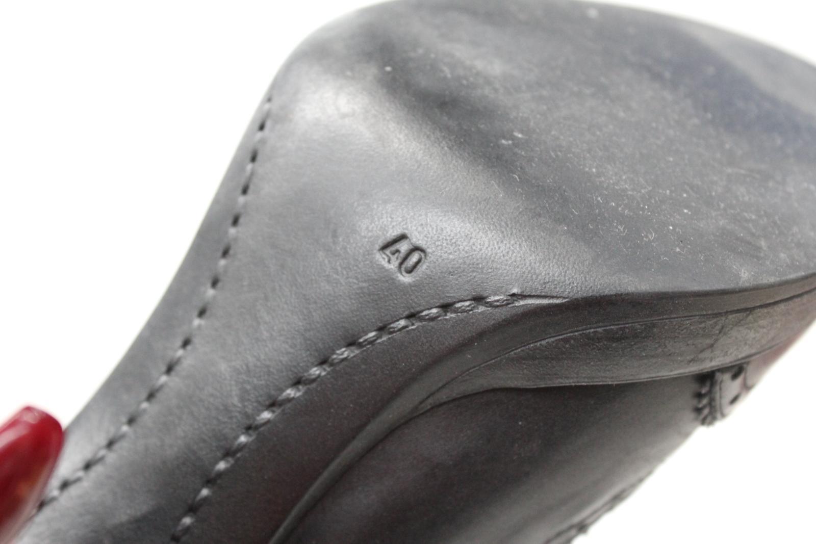 Carvela Damas Brogue De Cuero Negro botas Estilo Alta Zapato De Tacón Alto botas Negro UK7 EU40 25560c