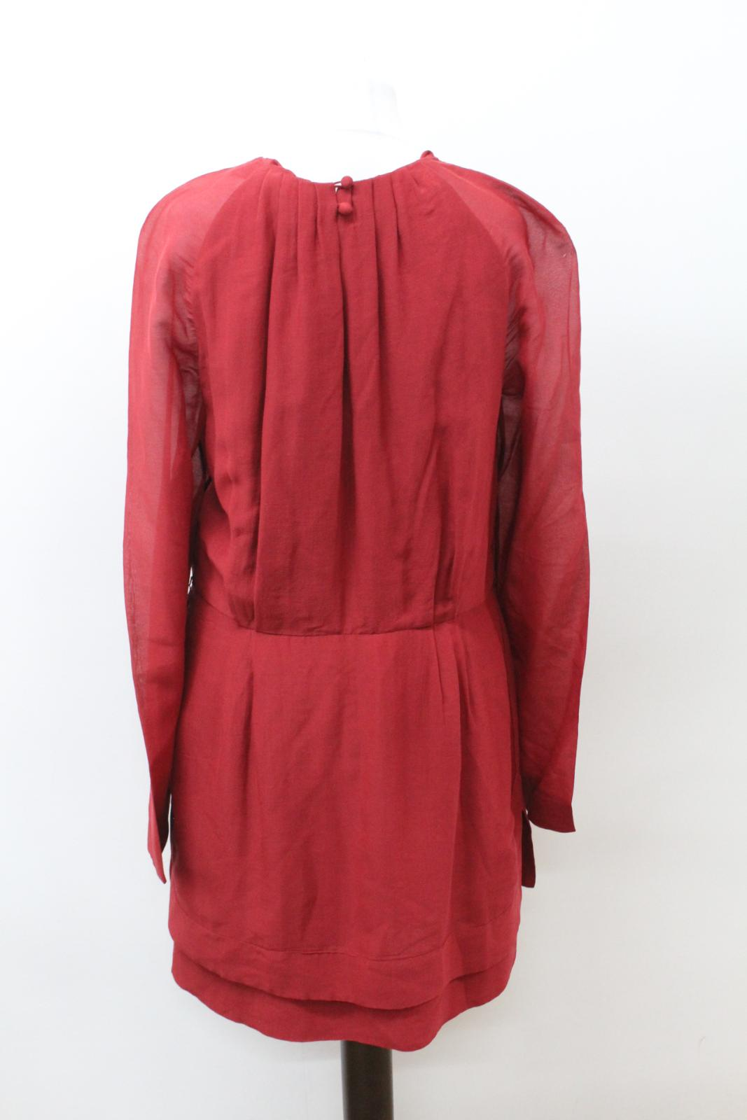 SARI GUERON Ladies Rusty Red Silk Silk Silk Long Sleeve Shift Style Dress US6 UK10 5c36d6