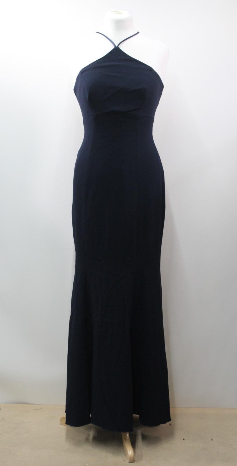 THEIA Ladies Navy Blau Halterneck Zip Zip Zip Up Full Length Maxi Dress UK10 US6 a0fc4c