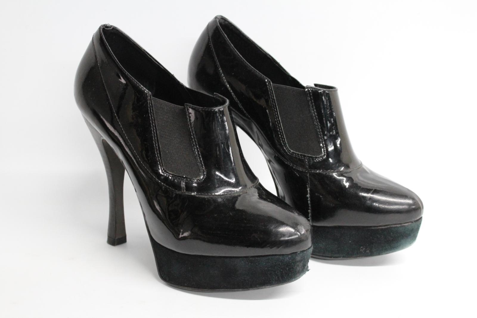 Carvela-Damas-De-Cuero-Negro-Resbalon-en-Zapatos-Tacon-Stiletto-botas-talla-UK7-EU40 miniatura 2