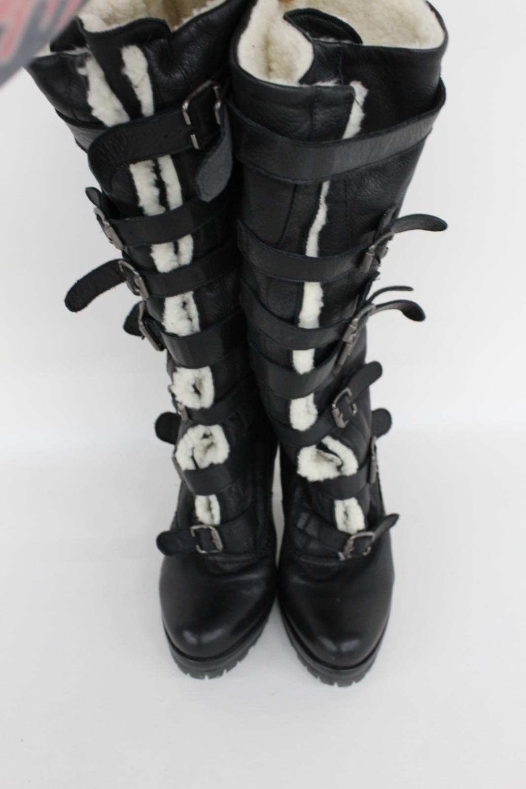 Kurt-Geiger-Damas-De-Cuero-Negro-Botas-de-tacon-hasta-la-rodilla-Correas-frontal-EU40-UK7 miniatura 5