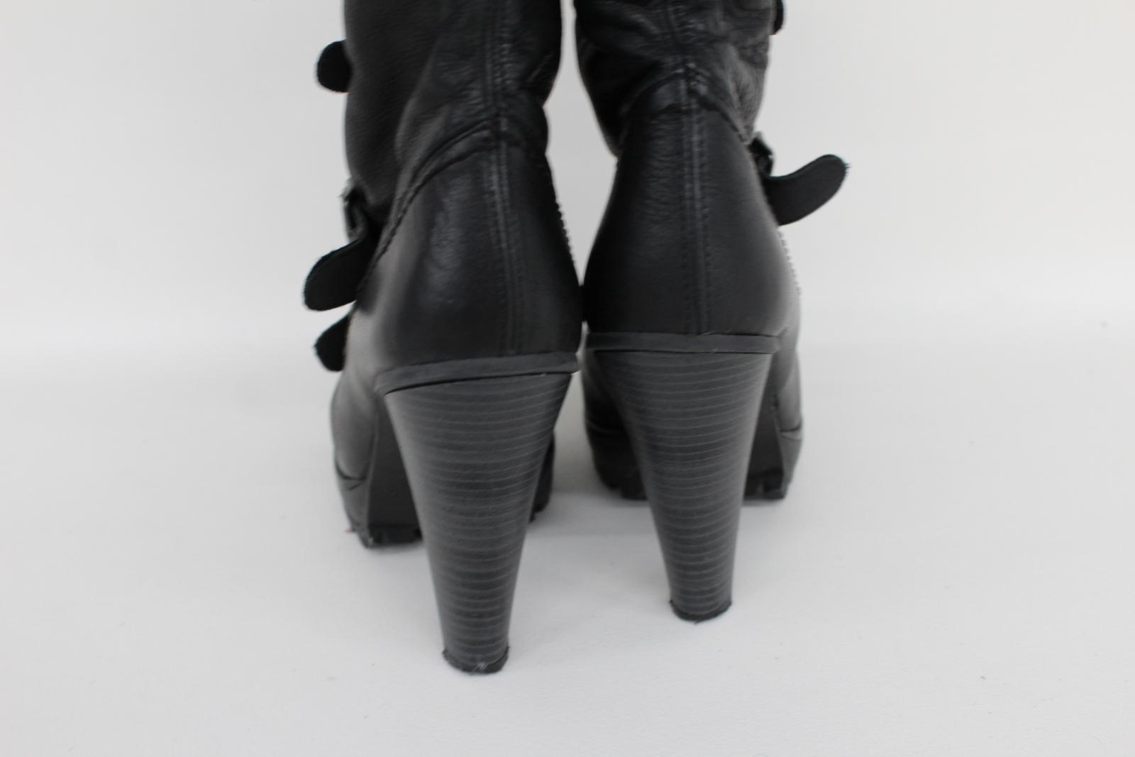 Kurt-Geiger-Damas-De-Cuero-Negro-Botas-de-tacon-hasta-la-rodilla-Correas-frontal-EU40-UK7 miniatura 8