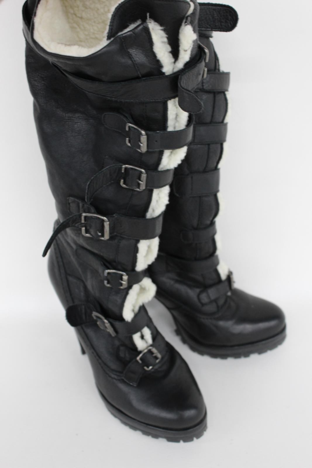 Kurt-Geiger-Damas-De-Cuero-Negro-Botas-de-tacon-hasta-la-rodilla-Correas-frontal-EU40-UK7 miniatura 11