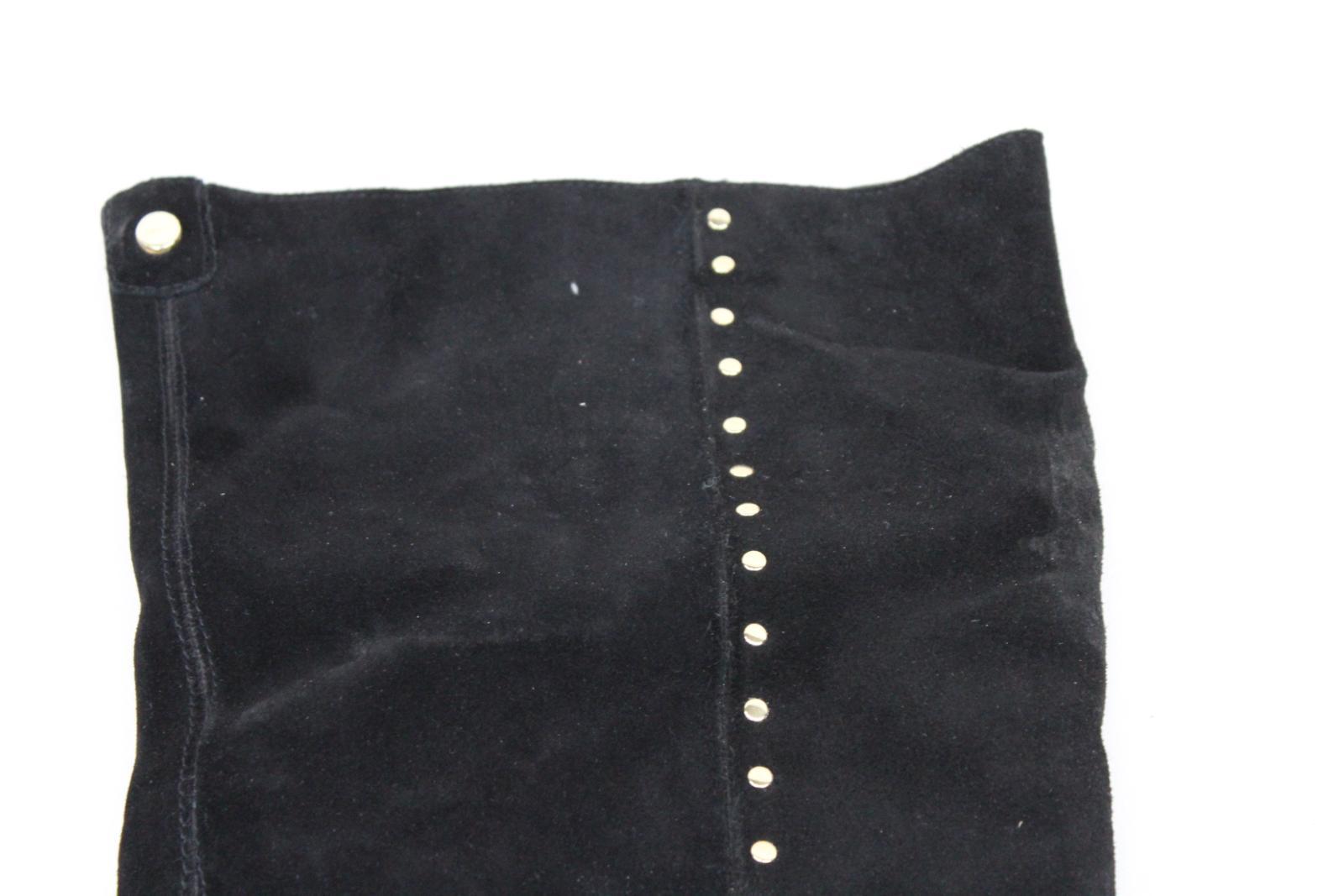 Carvela-Damas-De-Cuero-Negro-Sobre-La-Rodilla-alta-Botas-al-Tobillo-Tirar-de-plano-EU40-UK7 miniatura 9