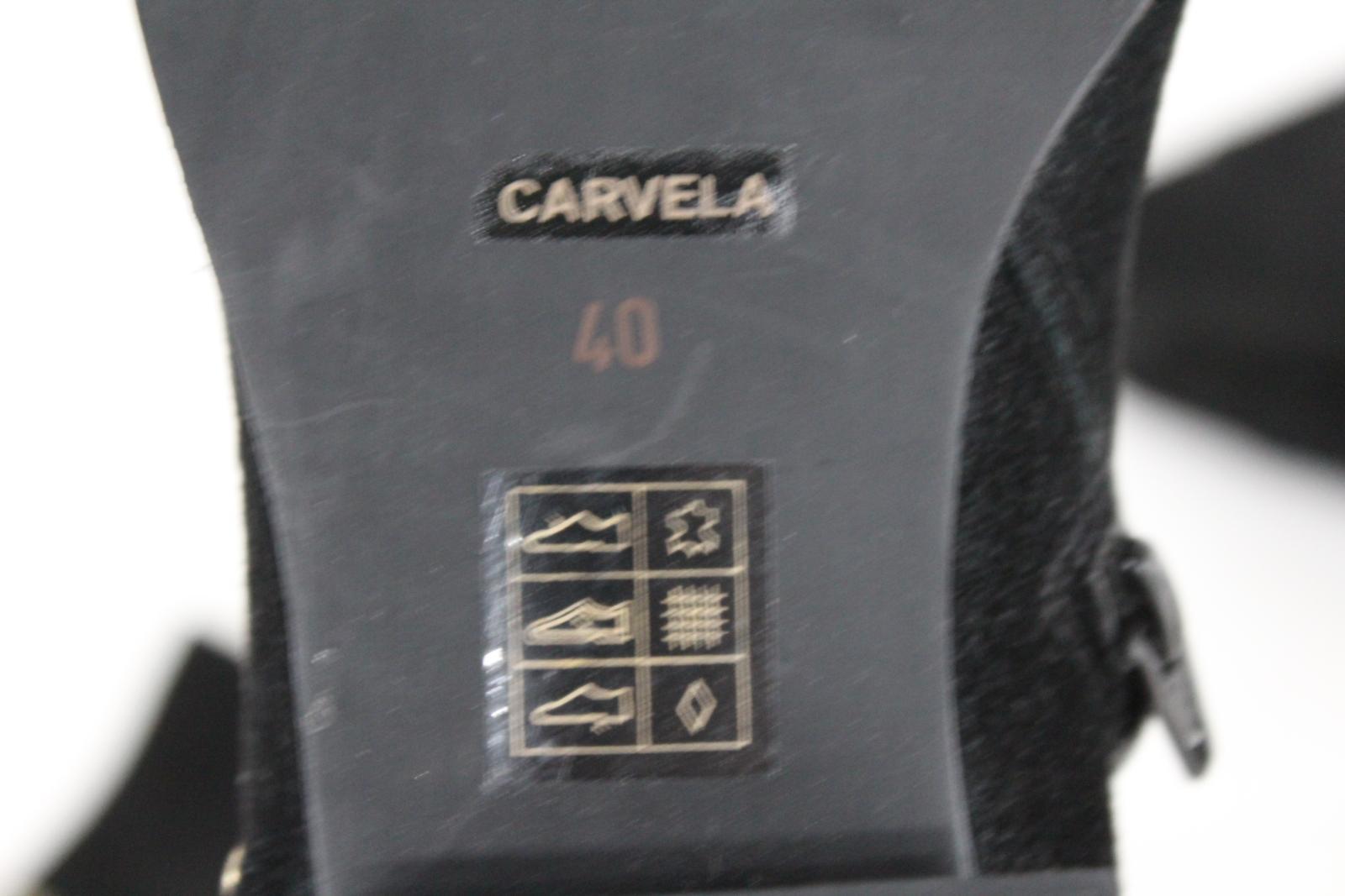 Carvela-Damas-De-Cuero-Negro-Sobre-La-Rodilla-alta-Botas-al-Tobillo-Tirar-de-plano-EU40-UK7 miniatura 10