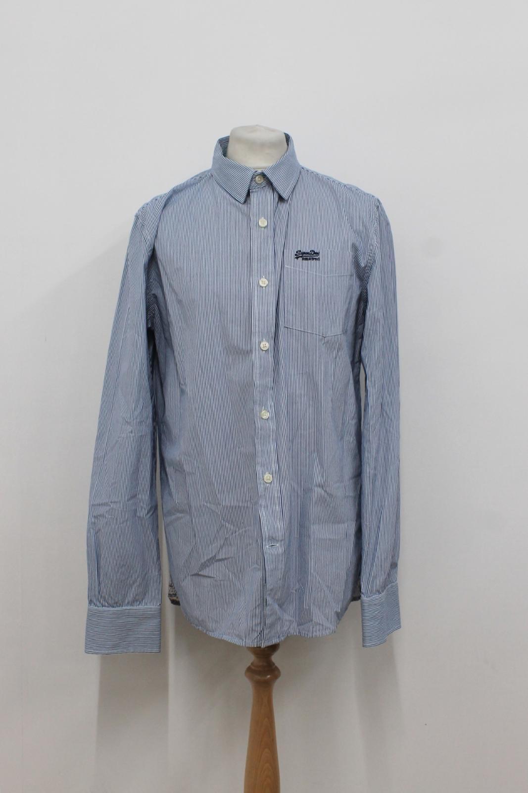 Camiseta-para-Hombre-de-Manga-Larga-Blanco-Azul-a-Rayas-Con-Cuello-Informal-Camisa-Tamano-XXL miniatura 2