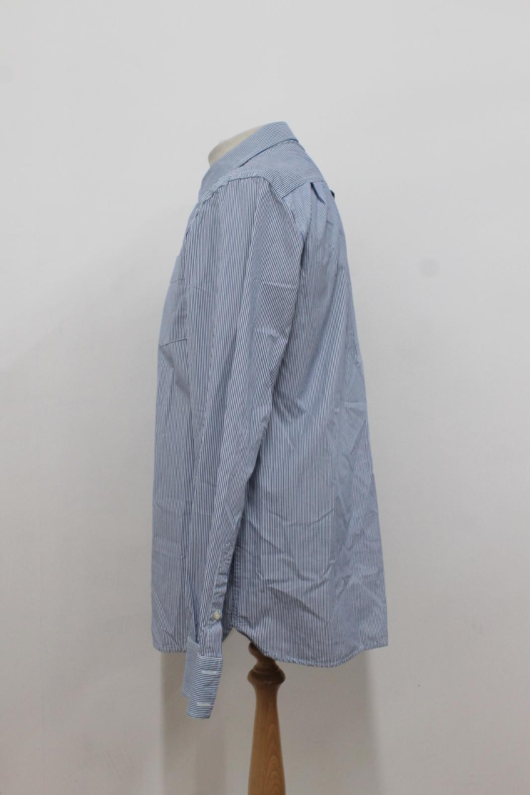 Camiseta-para-Hombre-de-Manga-Larga-Blanco-Azul-a-Rayas-Con-Cuello-Informal-Camisa-Tamano-XXL miniatura 5