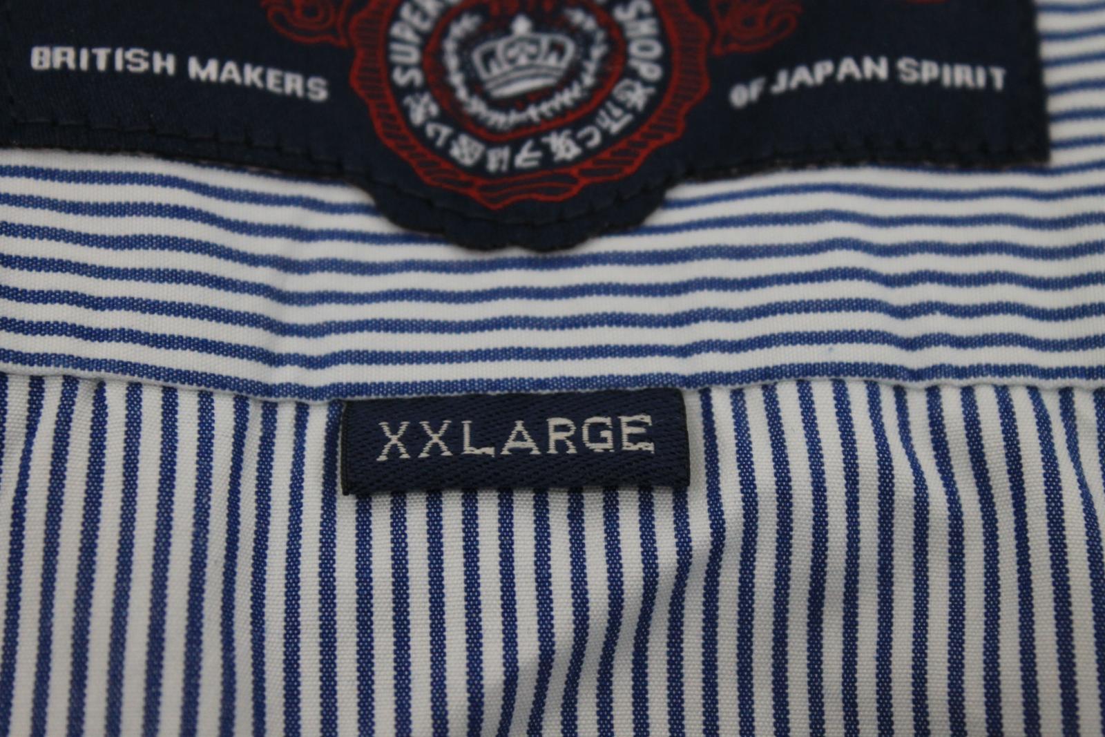Camiseta-para-Hombre-de-Manga-Larga-Blanco-Azul-a-Rayas-Con-Cuello-Informal-Camisa-Tamano-XXL miniatura 8