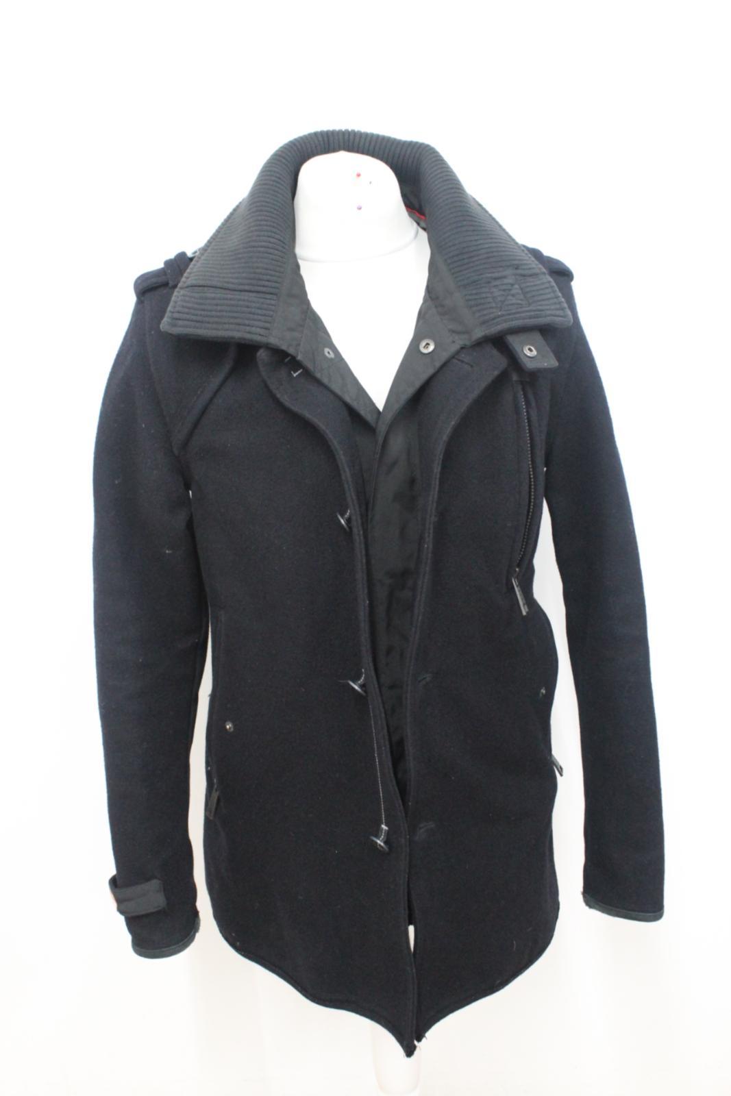 Superdry nera collo doppio manica M Cappotto alto lunga abbottonatura con a in uomo lana TqaaZwg