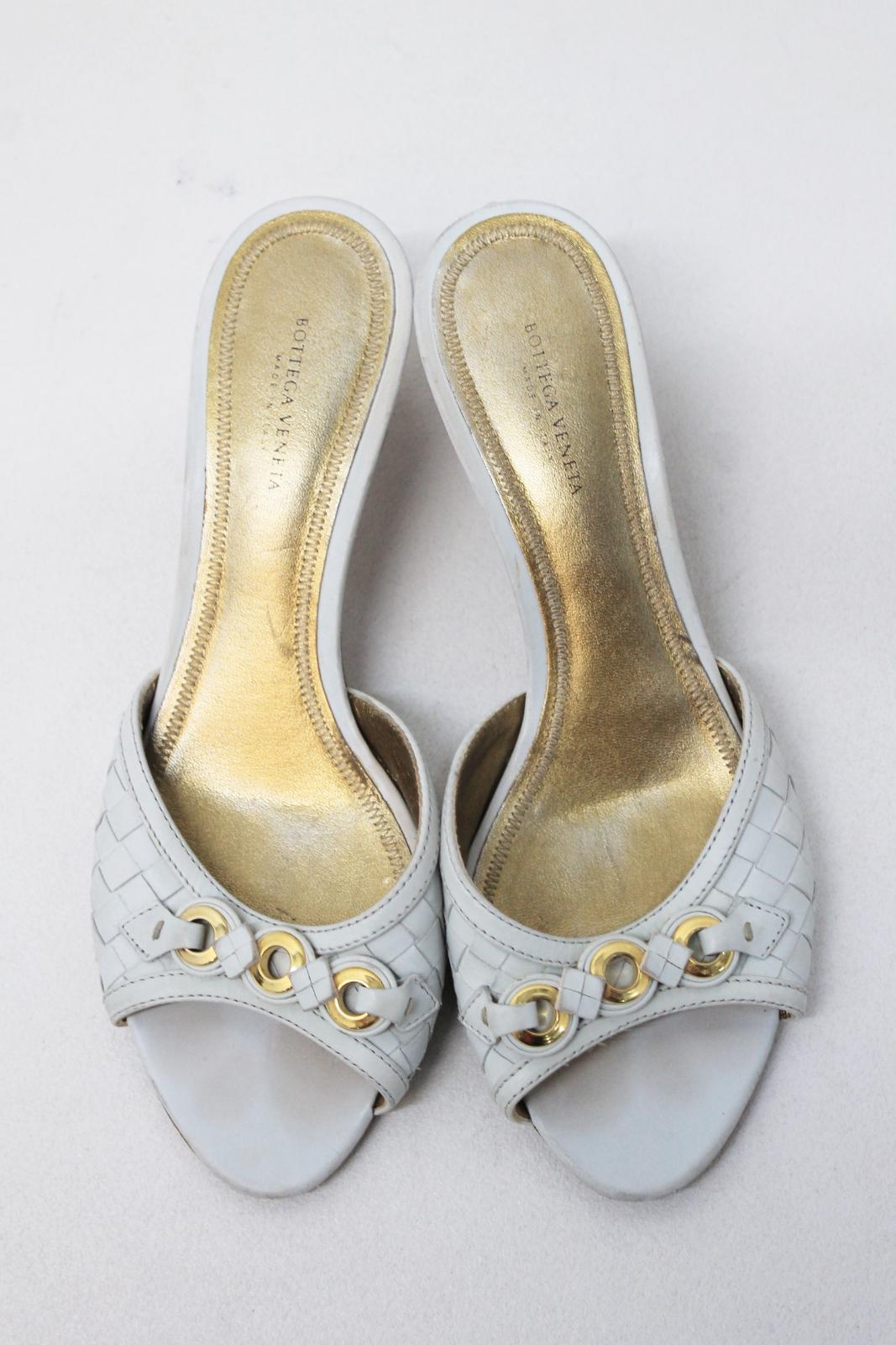 BOTTEGA VENETA Ladies White Leather Woven Mid Heeled Sandals shoes shoes shoes EU38.5 UK5.5 9460c8