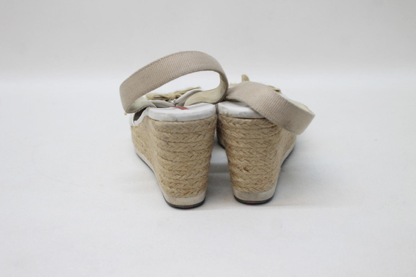Espadrillas Zeppe Sandali Dimensioni Prada Platform White Ladies Beige UK5 ca wqZXF