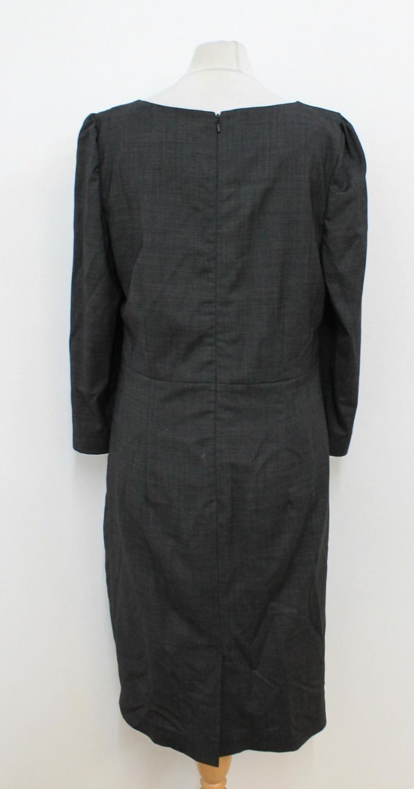 JAEGER Donna Grigio Scuro 3 4 Maniche Lunghe Lunghe Lunghe Square Scollo Shift Dress Dimensione UK12 d66e4f