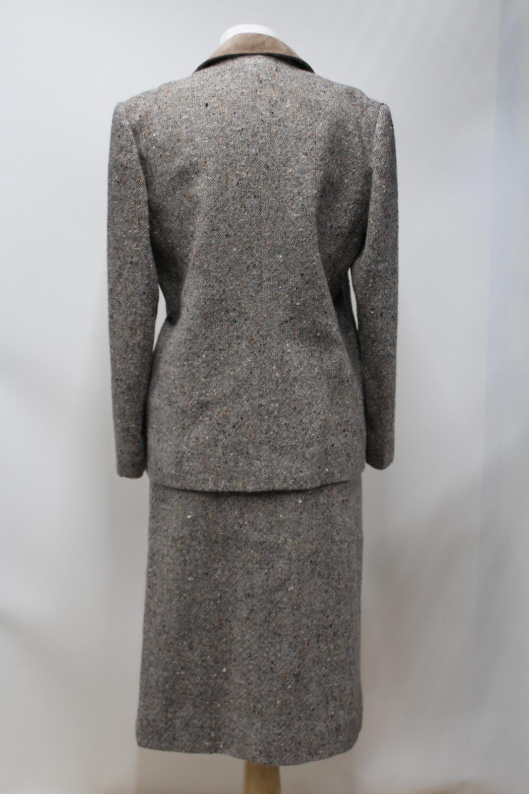 Gold Skirt Suit Jacket Tweed Eu40 With Brown Fernande Trim Size Desgranges Uk12 1n0OxA