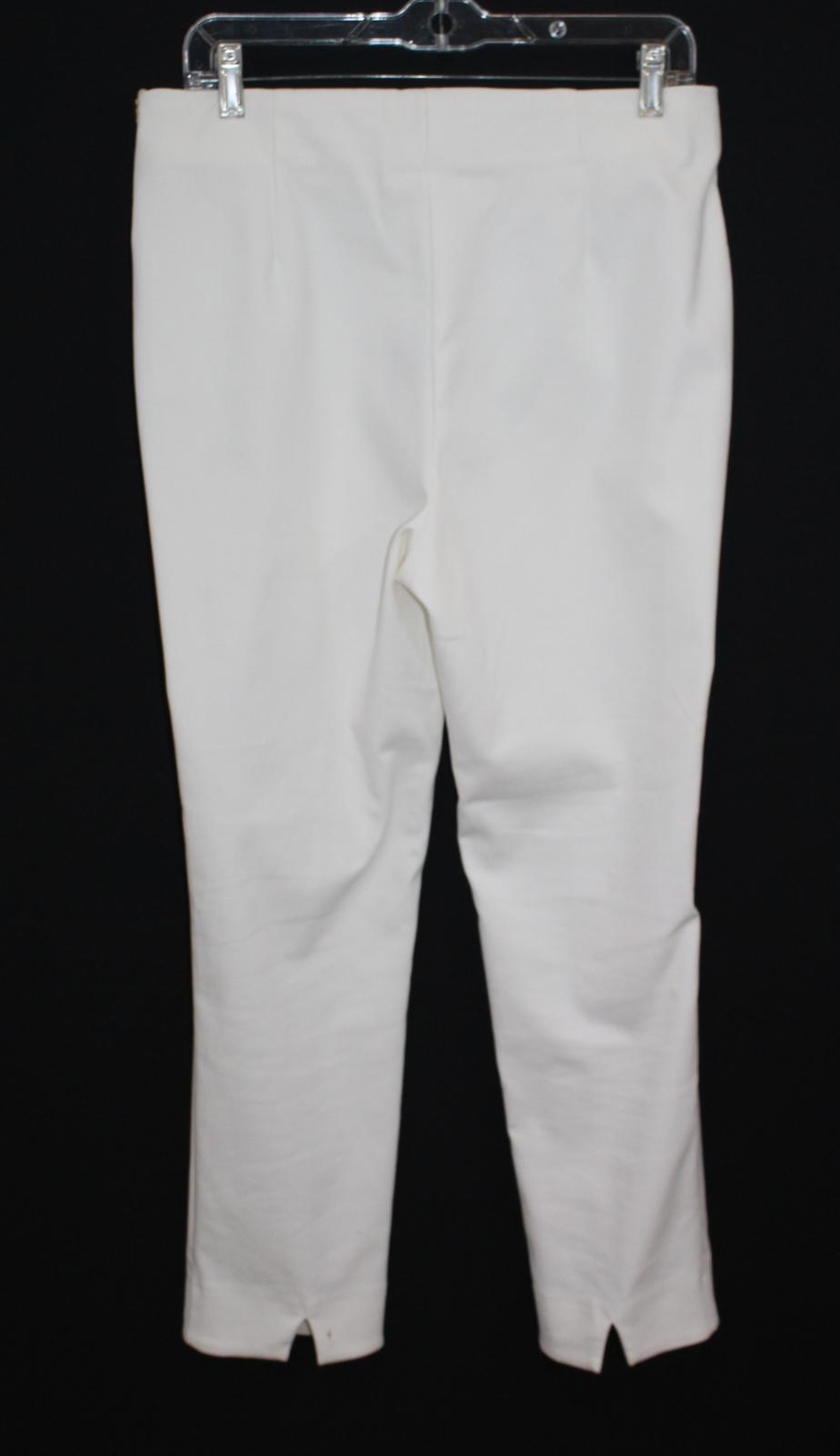 Costa-Damas-Marfil-Alexa-Algodon-Mezcla-recortada-High-rise-Pantalones-Cremallera-Lateral-UK14 miniatura 2
