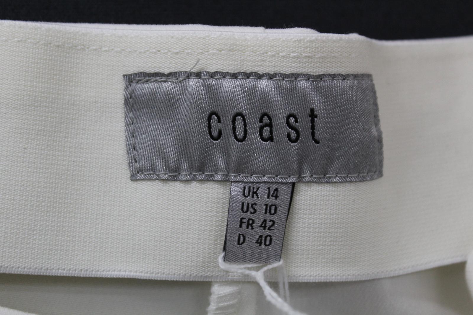 Costa-Damas-Marfil-Alexa-Algodon-Mezcla-recortada-High-rise-Pantalones-Cremallera-Lateral-UK14 miniatura 7