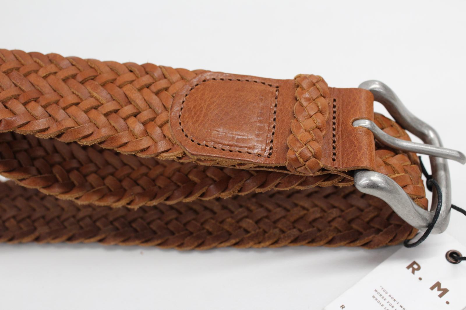 NUOVO-R-M-Williams-in-Pelle-Marrone-Intrecciato-TESSUTA-PIN-buckke-bambra-Cintura-Taglia-32-034 miniatura 7