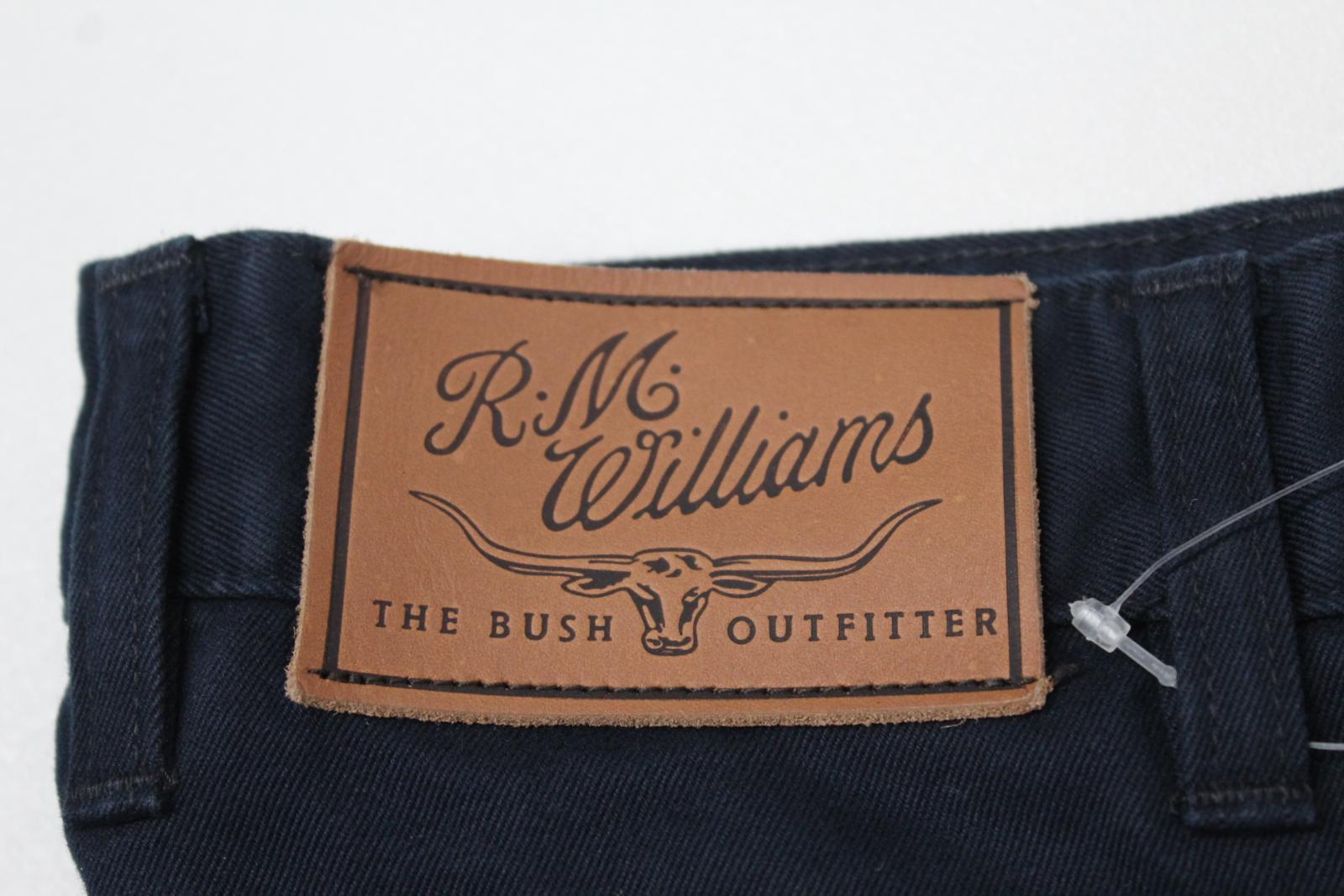 BNWT BNWT BNWT R.M. Williams uomo Blu Navy Cotone Gamba Dritta Guardalinee Jeans 36L 9ee660