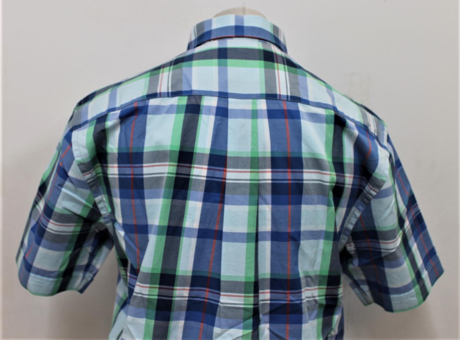 M Size Short Streatham R Bnwt Williams Shirt Blue m Checked Men's Green Sleeve nAAPf7H