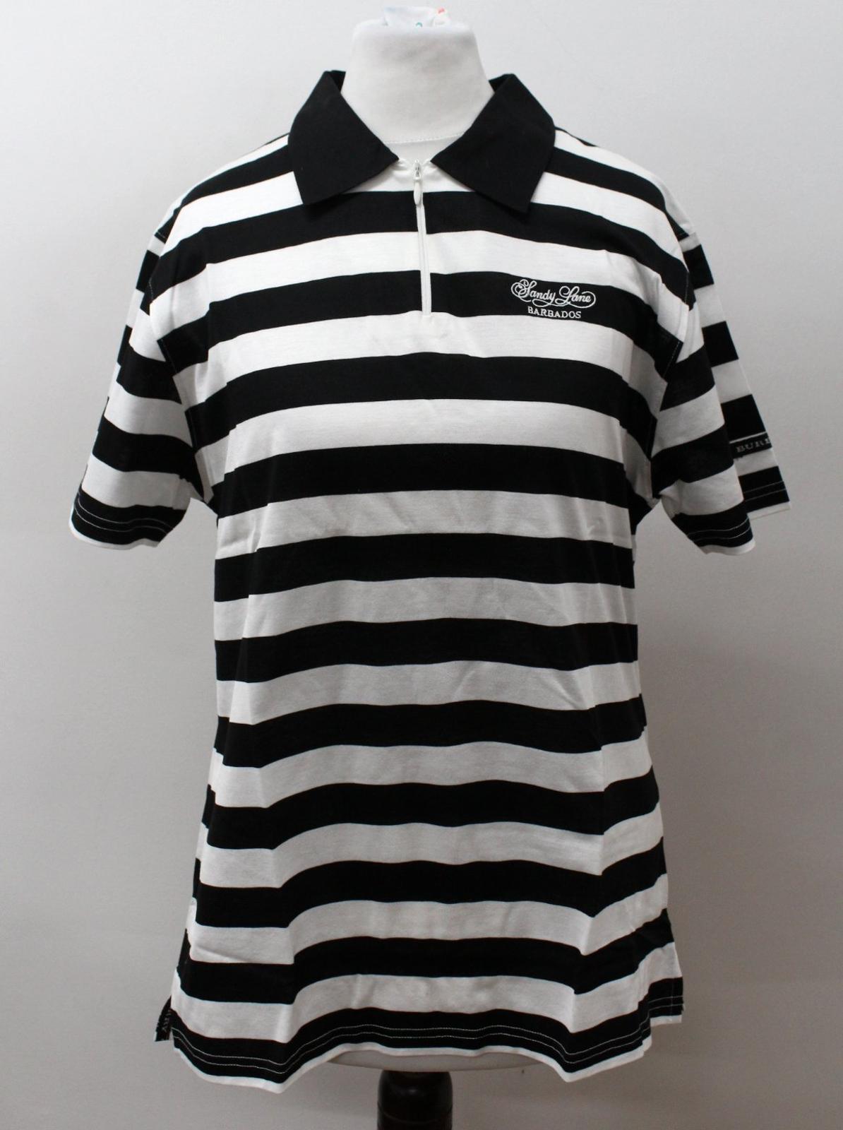 BURBERRY-GOLF-Ladies-Black-White-Cotton-Short-Sleeve-Striped-Polo-Shirt-S-BNWT thumbnail 2