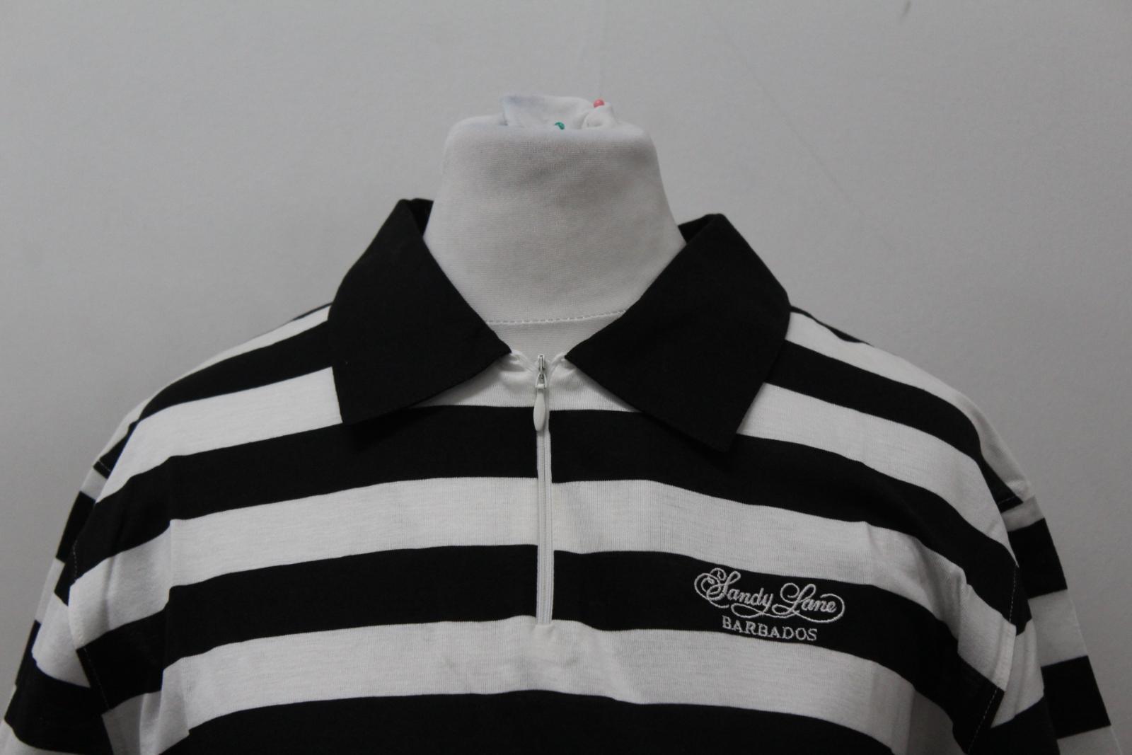BURBERRY-GOLF-Ladies-Black-White-Cotton-Short-Sleeve-Striped-Polo-Shirt-S-BNWT thumbnail 3
