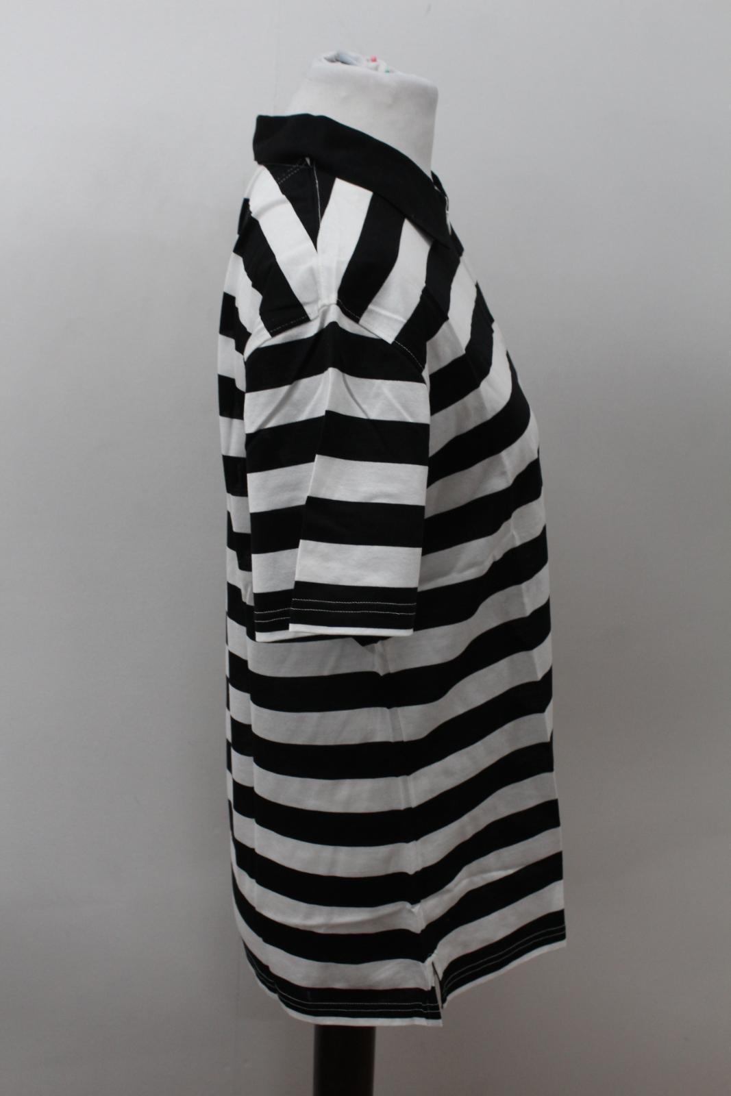 BURBERRY-GOLF-Ladies-Black-White-Cotton-Short-Sleeve-Striped-Polo-Shirt-S-BNWT thumbnail 4