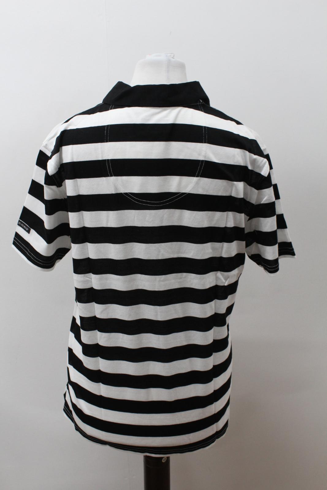 BURBERRY-GOLF-Ladies-Black-White-Cotton-Short-Sleeve-Striped-Polo-Shirt-S-BNWT thumbnail 5