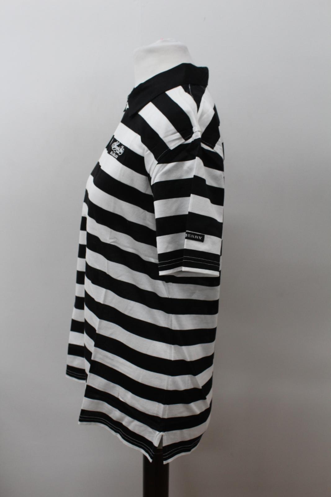 BURBERRY-GOLF-Ladies-Black-White-Cotton-Short-Sleeve-Striped-Polo-Shirt-S-BNWT thumbnail 6
