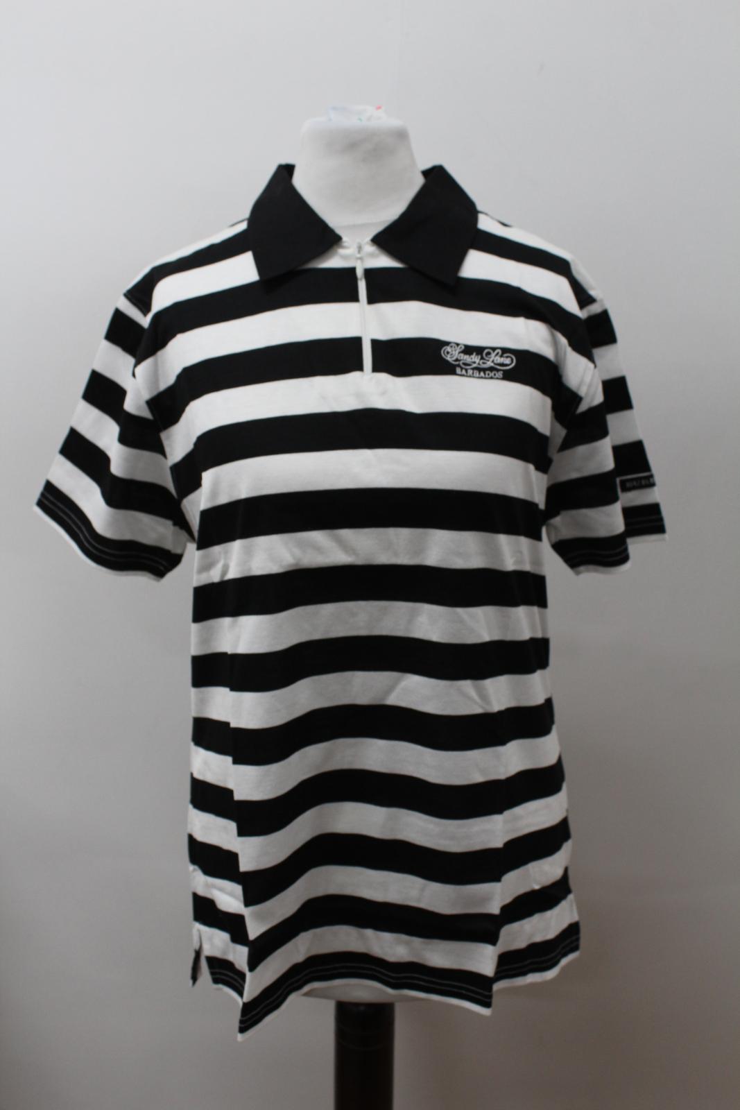 BURBERRY-GOLF-Ladies-Black-White-Cotton-Short-Sleeve-Striped-Polo-Shirt-S-BNWT thumbnail 7