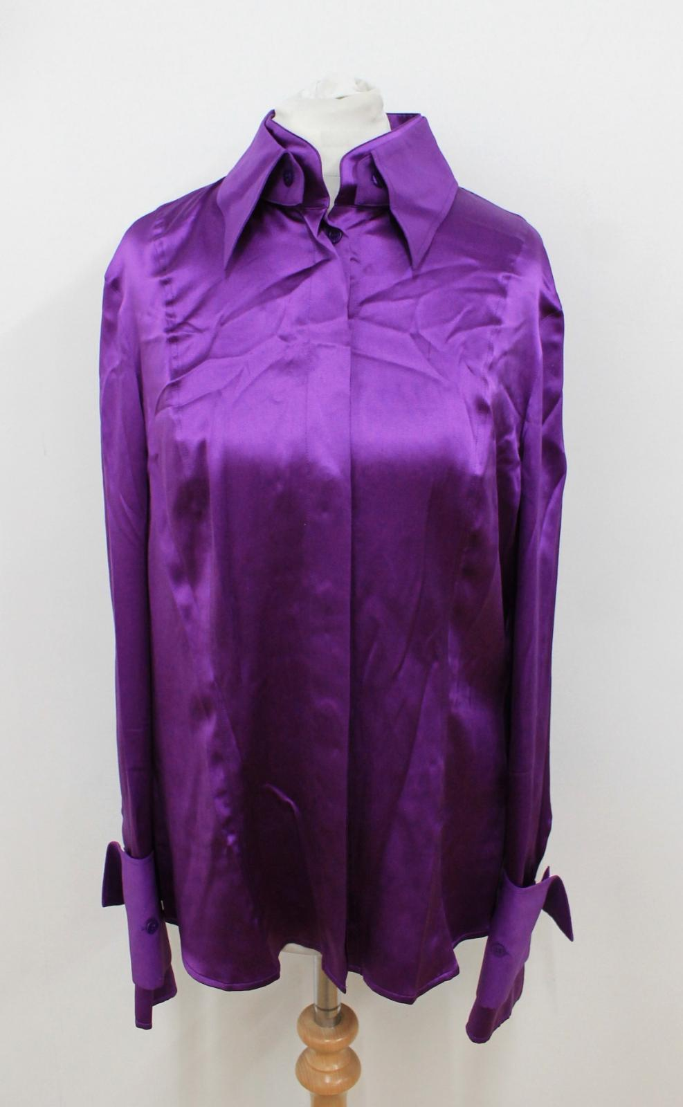 Silk Uk12 Size Ladies Long Collared Blended Escada De38 Purple Shirt Sleeved E7TvqPw8w
