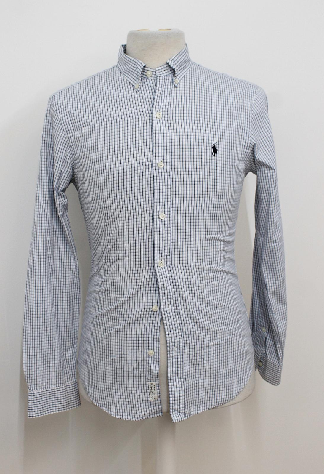 Polo-Ralph-Lauren-Para-Hombres-Blanco-Negro-Azul-Camisa-De-Patron-De-Cuadros-Slim-Fit-Talla-S miniatura 2