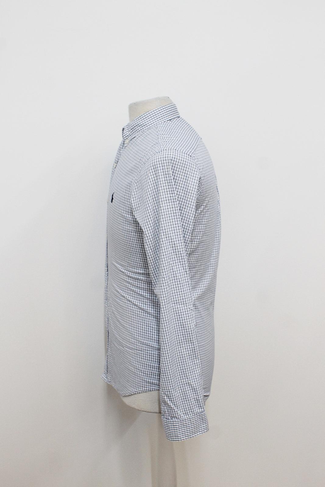 Polo-Ralph-Lauren-Para-Hombres-Blanco-Negro-Azul-Camisa-De-Patron-De-Cuadros-Slim-Fit-Talla-S miniatura 5