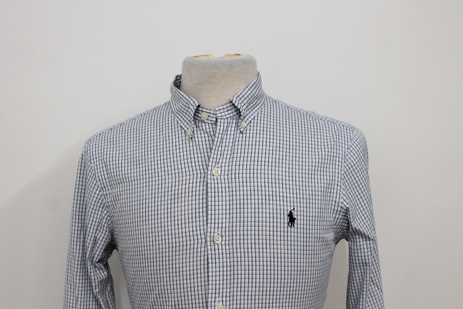 Polo-Ralph-Lauren-Para-Hombres-Blanco-Negro-Azul-Camisa-De-Patron-De-Cuadros-Slim-Fit-Talla-S miniatura 6