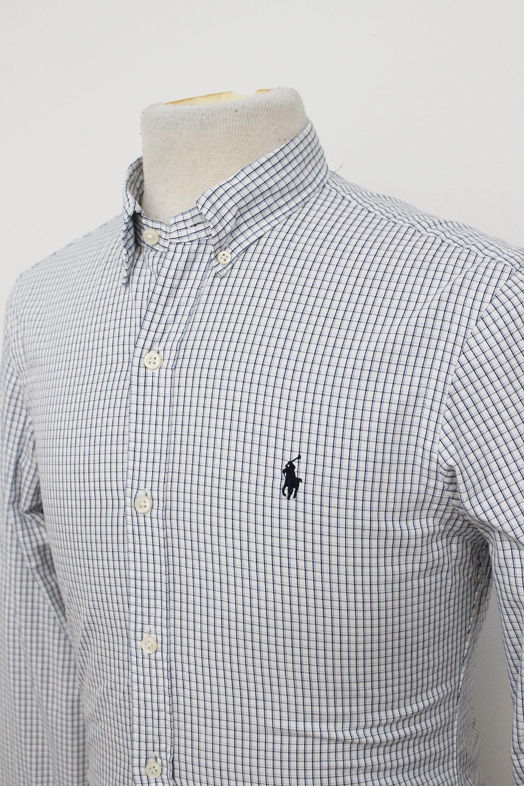 Polo-Ralph-Lauren-Para-Hombres-Blanco-Negro-Azul-Camisa-De-Patron-De-Cuadros-Slim-Fit-Talla-S miniatura 7
