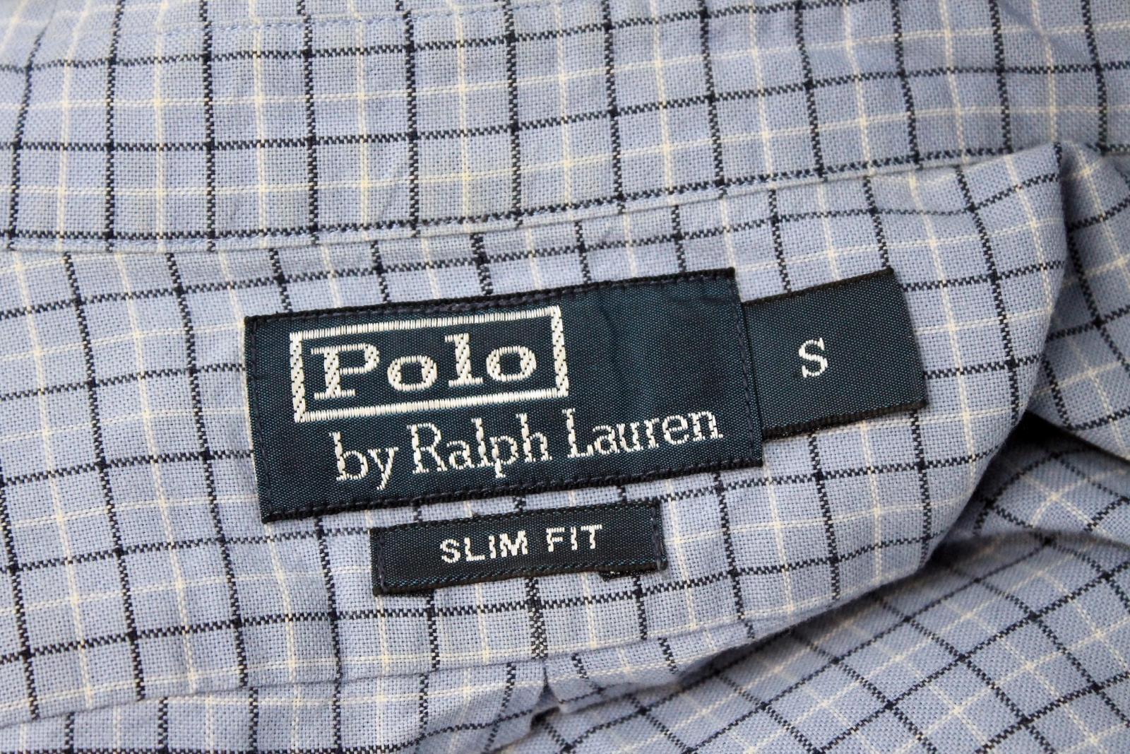 Polo-Ralph-Lauren-Para-Hombres-Blanco-Negro-Azul-Camisa-De-Patron-De-Cuadros-Slim-Fit-Talla-S miniatura 10