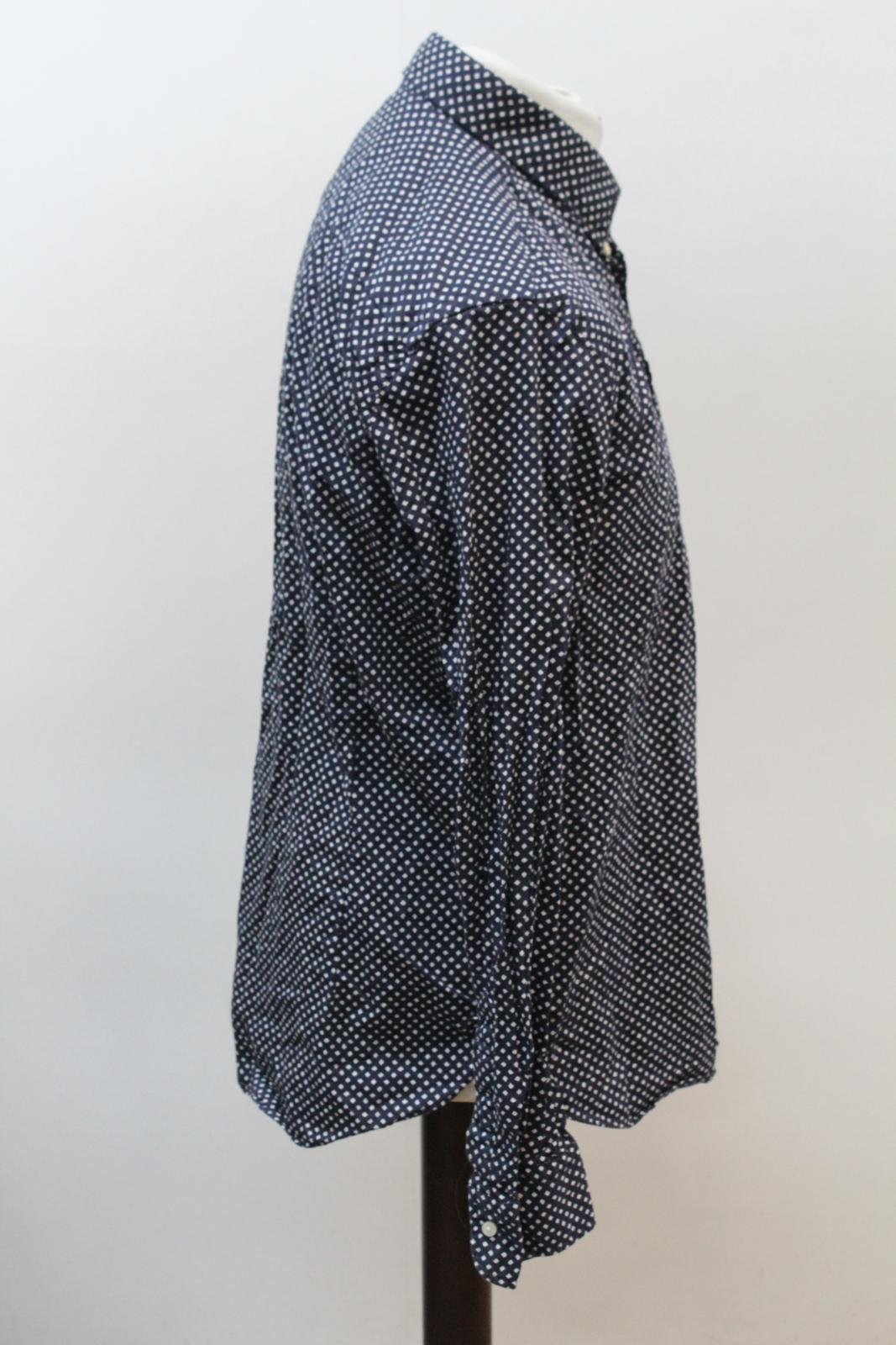 Massimo-Dutti-Para-hombres-Mangas-Largas-Azul-Marino-Marfil-Impreso-informal-camisa-tamano-XL miniatura 4