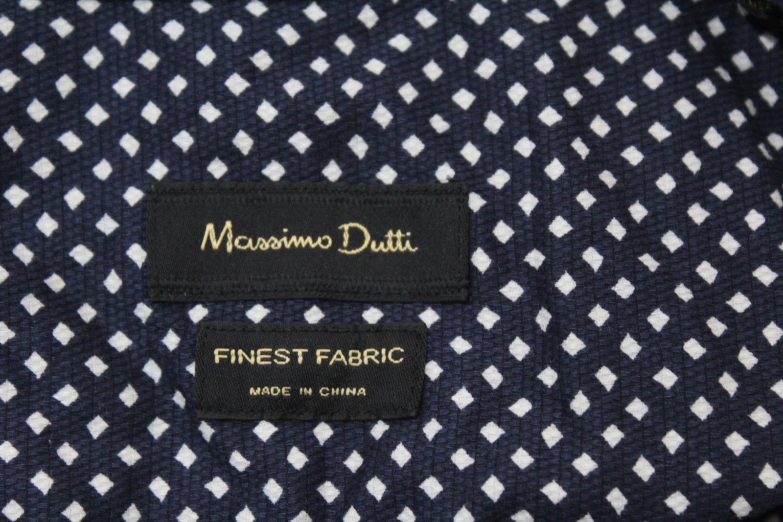 Massimo-Dutti-Para-hombres-Mangas-Largas-Azul-Marino-Marfil-Impreso-informal-camisa-tamano-XL miniatura 8