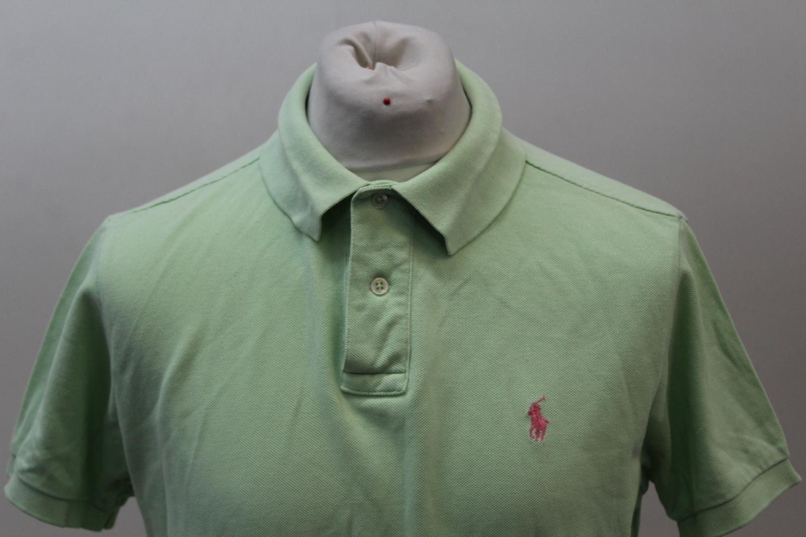 Polo-by-Ralph-Lauren-Hombre-Verde-De-Algodon-Manga-Corta-Con-Cuello-Camisa-Polo-Talla-L miniatura 3