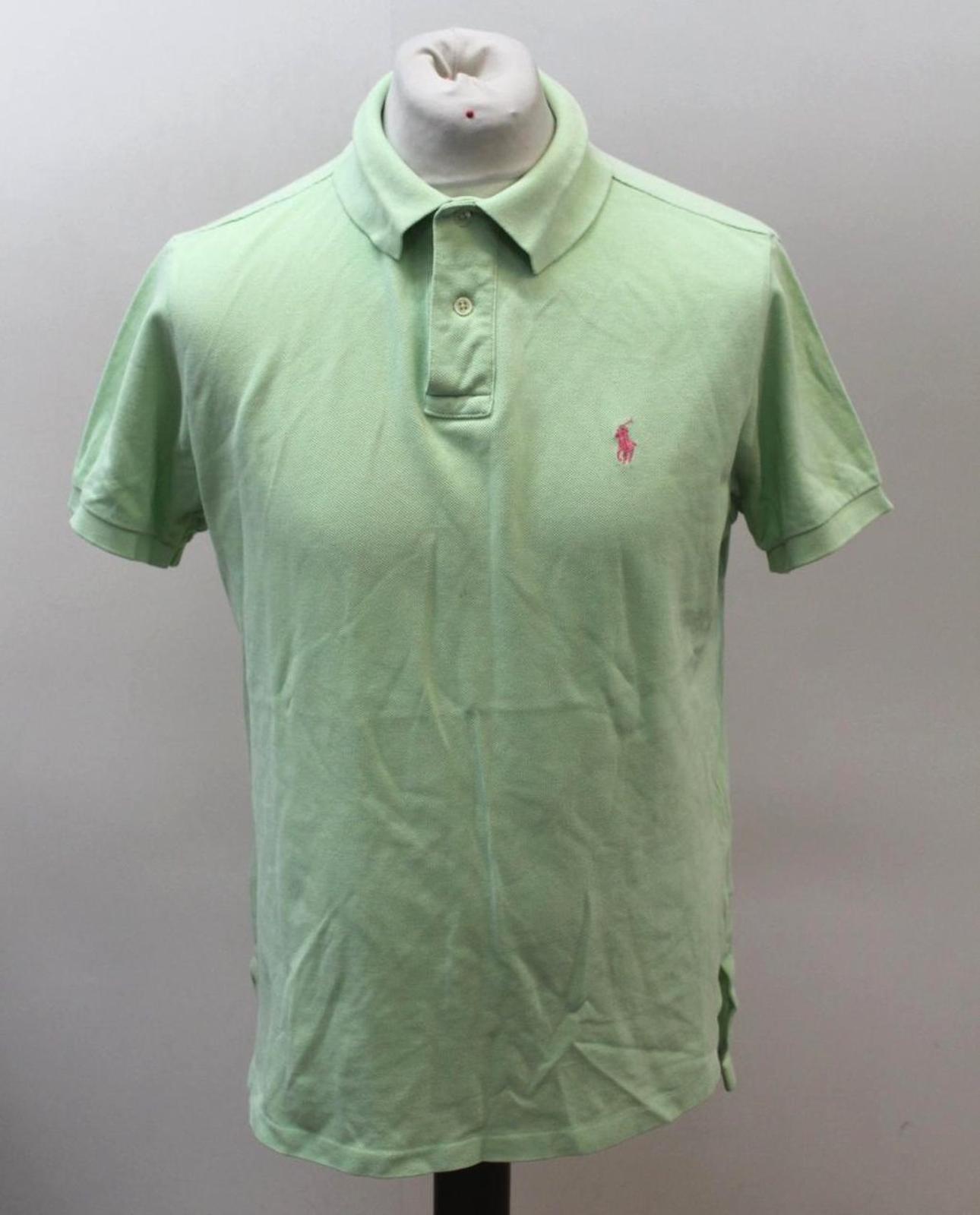 Polo-by-Ralph-Lauren-Hombre-Verde-De-Algodon-Manga-Corta-Con-Cuello-Camisa-Polo-Talla-L miniatura 12