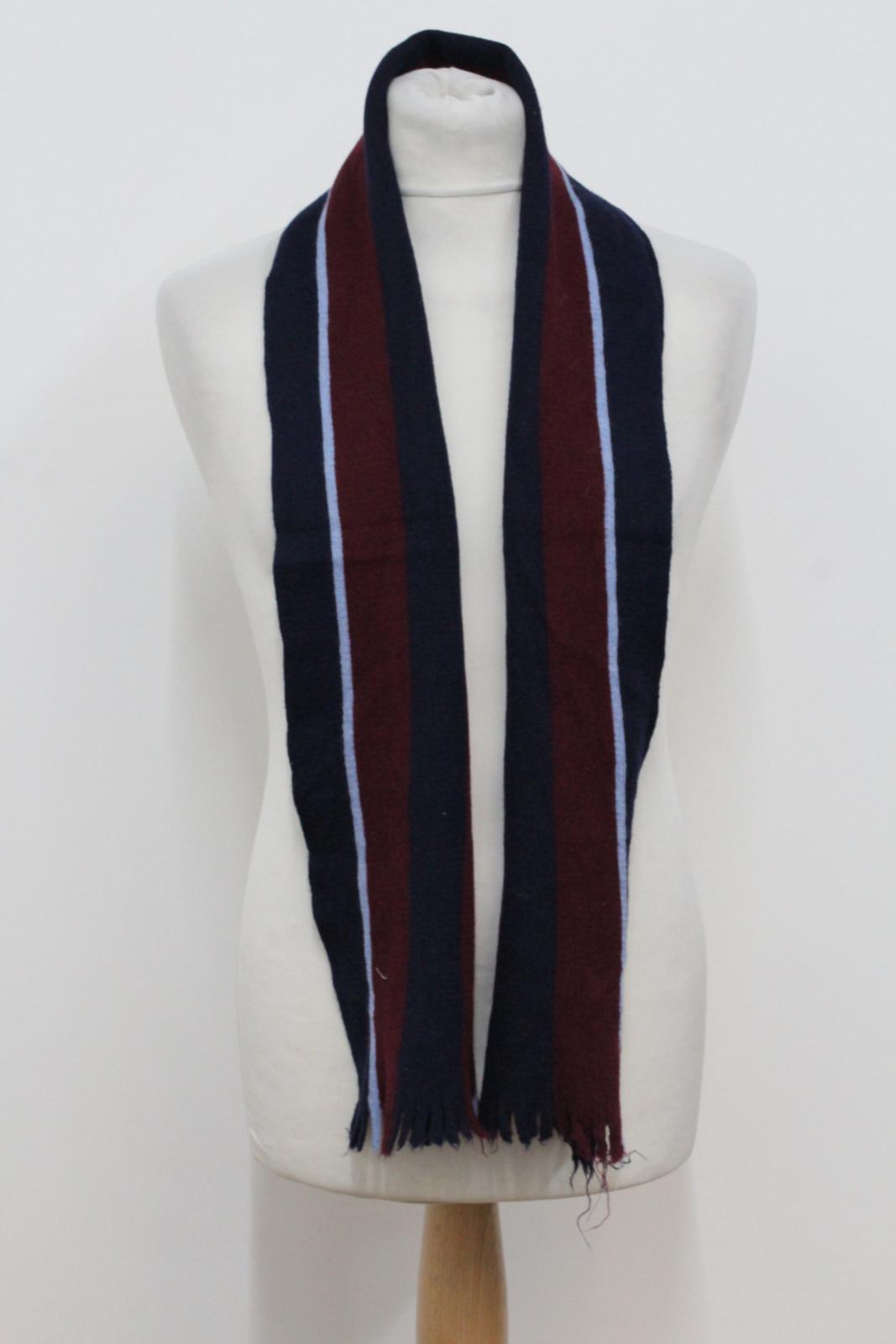 Hilltop-Homme-Bleu-amp-Rouge-Laine-depouille-rectangulaire-Tricot-echarpe-152-cm-x-20-cm miniature 2
