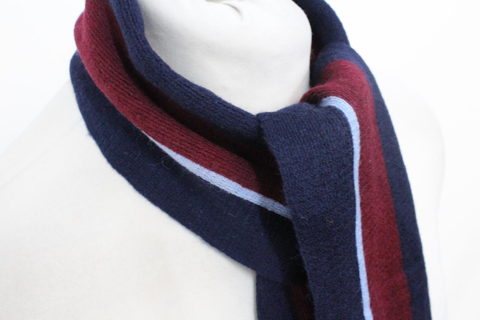 Hilltop-Homme-Bleu-amp-Rouge-Laine-depouille-rectangulaire-Tricot-echarpe-152-cm-x-20-cm miniature 8