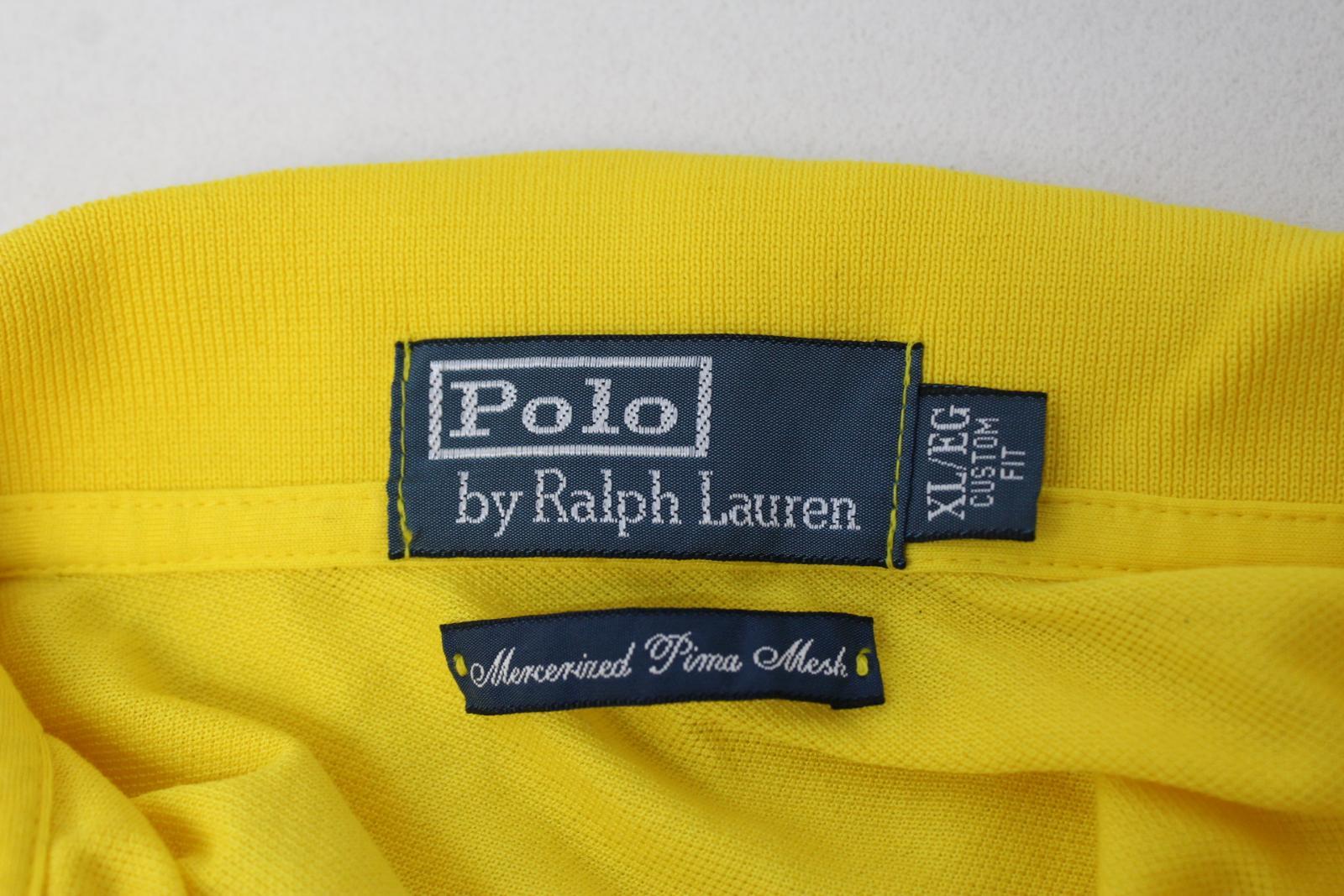 Ralph-Lauren-Polo-para-hombre-de-Amarillo-De-Algodon-Manga-Corta-Camisa-Polo-De-Ajuste-Personalizado miniatura 6