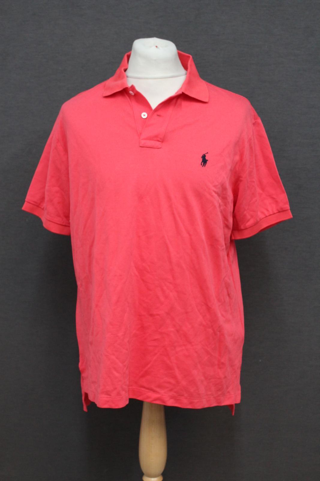 Ralph-Lauren-Polo-para-hombre-de-color-rosa-de-algodon-Manga-Corta-Camisa-Polo-De-Ajuste miniatura 2