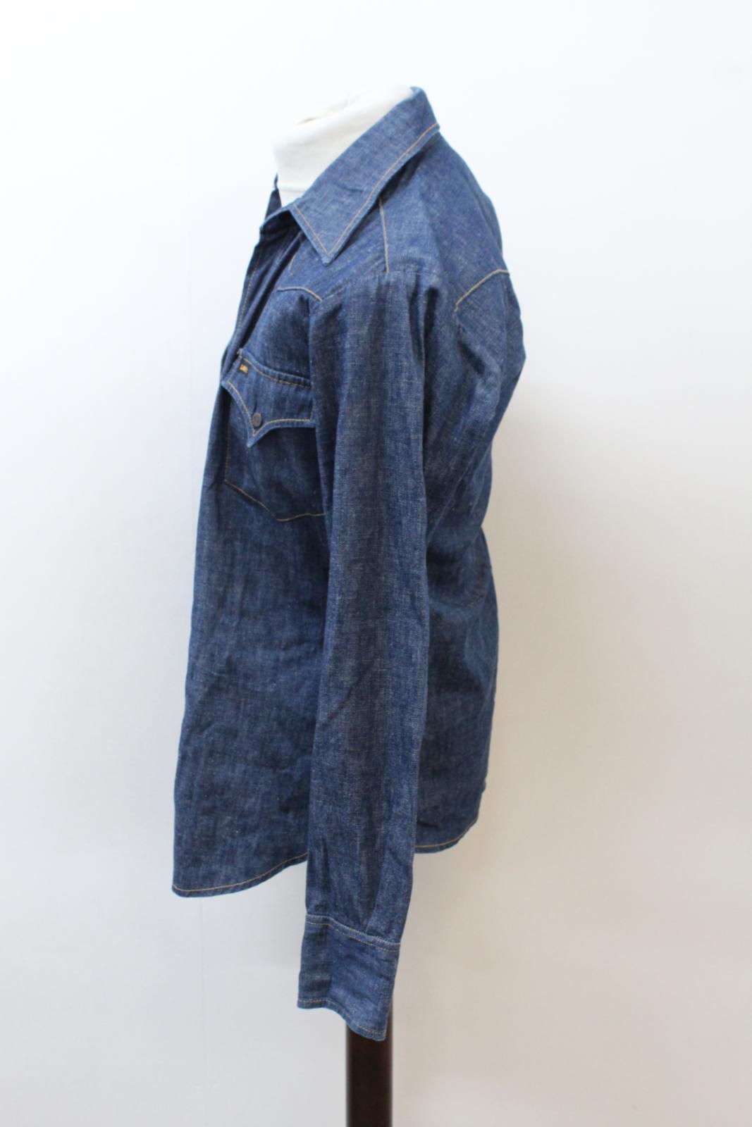 Lee-Jeans-de-hombre-Vintage-Denim-Azul-Algodon-con-Corchetes-Cierre-Mangas-Largas-Camisa-S miniatura 3