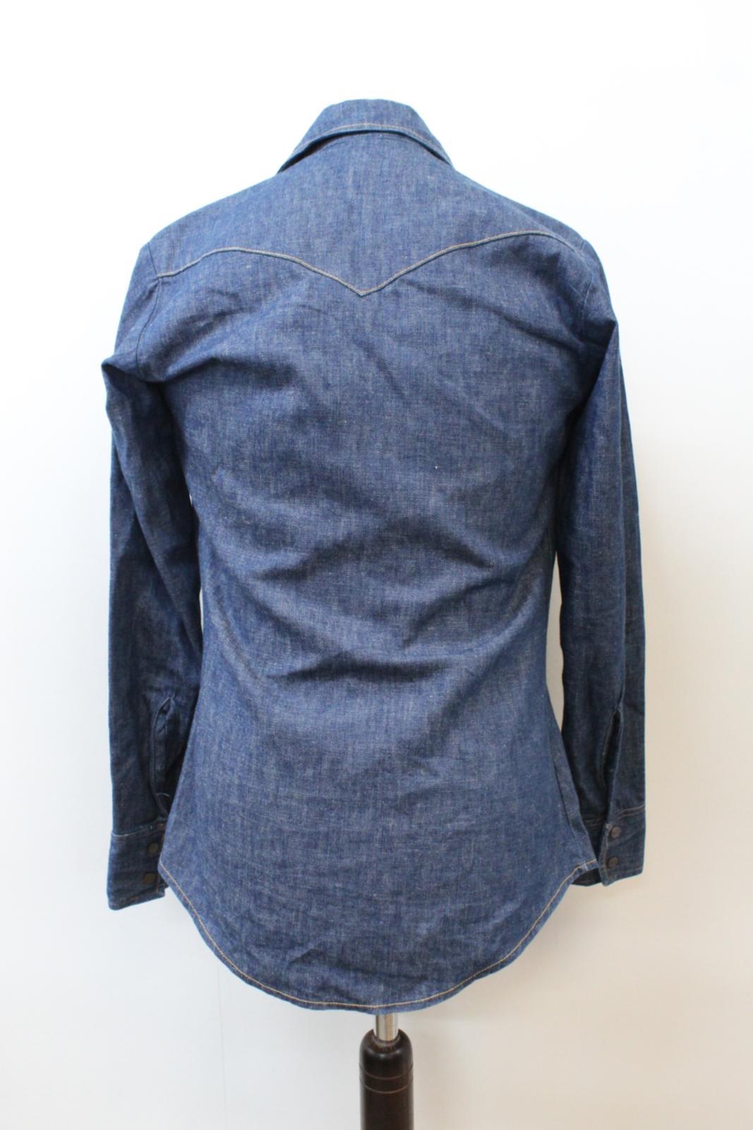Lee-Jeans-de-hombre-Vintage-Denim-Azul-Algodon-con-Corchetes-Cierre-Mangas-Largas-Camisa-S miniatura 4
