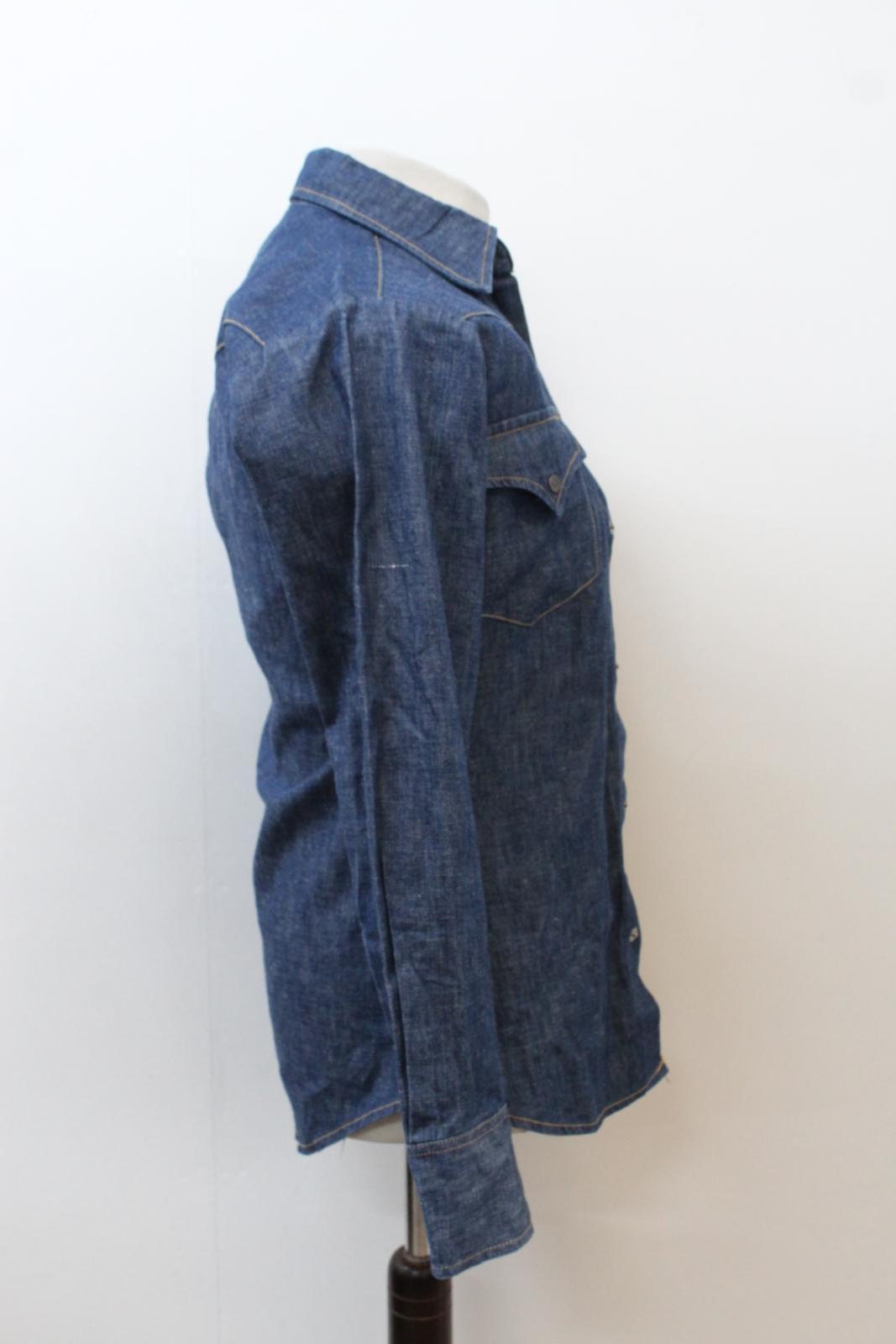 Lee-Jeans-de-hombre-Vintage-Denim-Azul-Algodon-con-Corchetes-Cierre-Mangas-Largas-Camisa-S miniatura 5