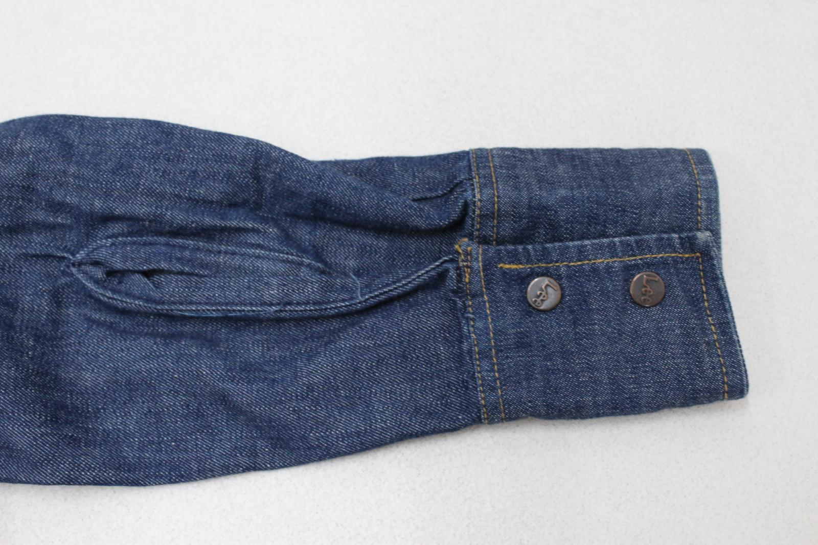 Lee-Jeans-de-hombre-Vintage-Denim-Azul-Algodon-con-Corchetes-Cierre-Mangas-Largas-Camisa-S miniatura 8