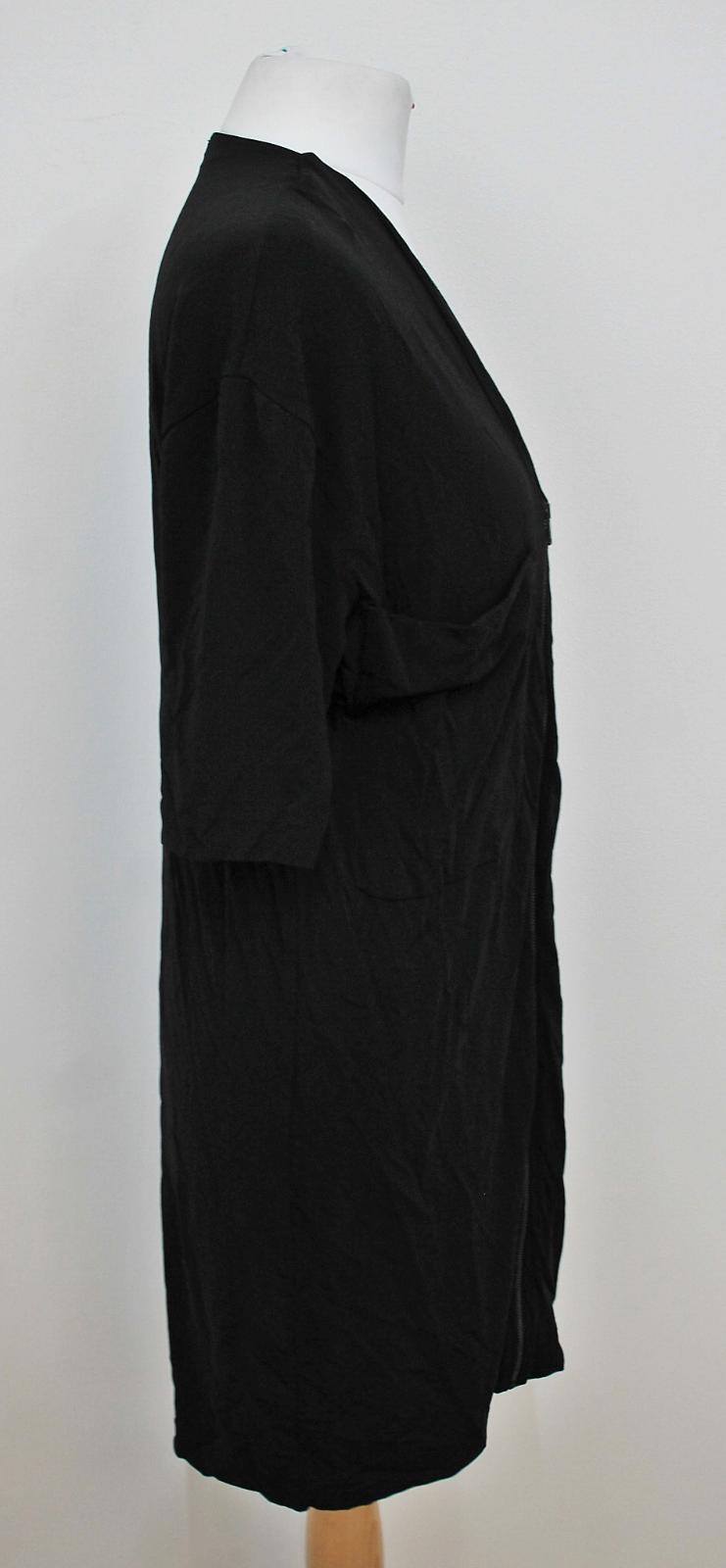 COS-Senoras-Negras-de-manga-corta-escote-V-con-cremallera-frontal-Cambio-Vestido-Talla-XS miniatura 3