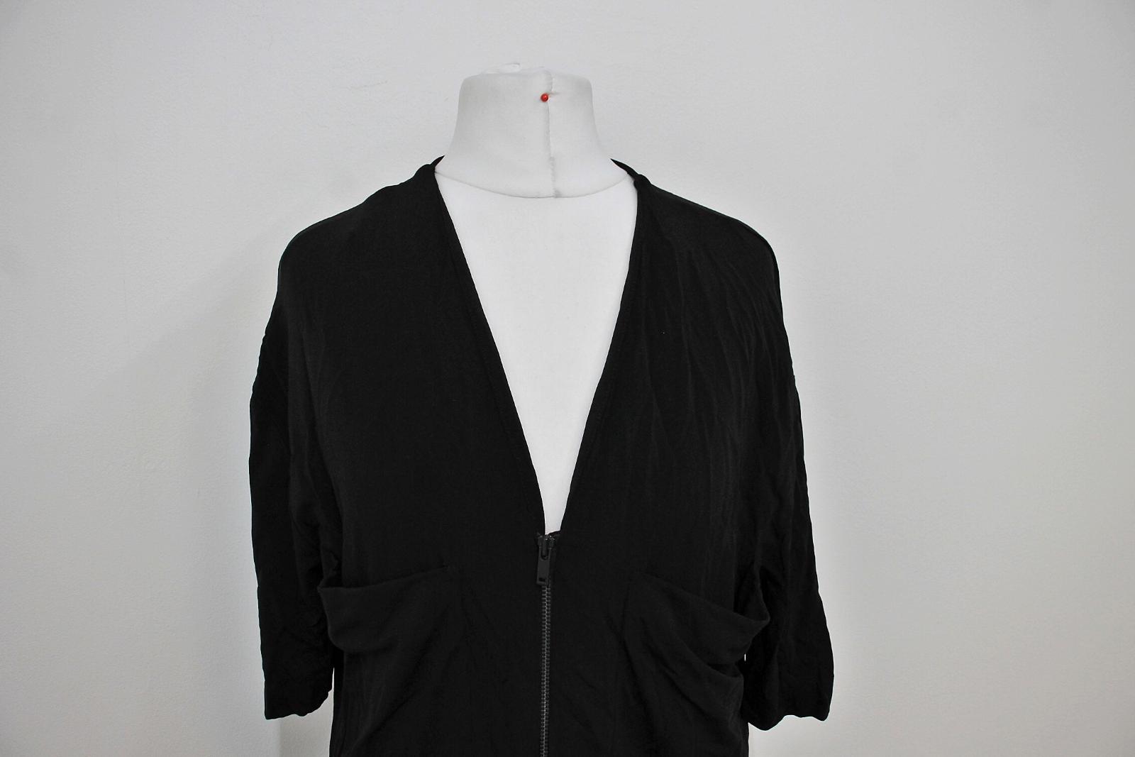 COS-Senoras-Negras-de-manga-corta-escote-V-con-cremallera-frontal-Cambio-Vestido-Talla-XS miniatura 6